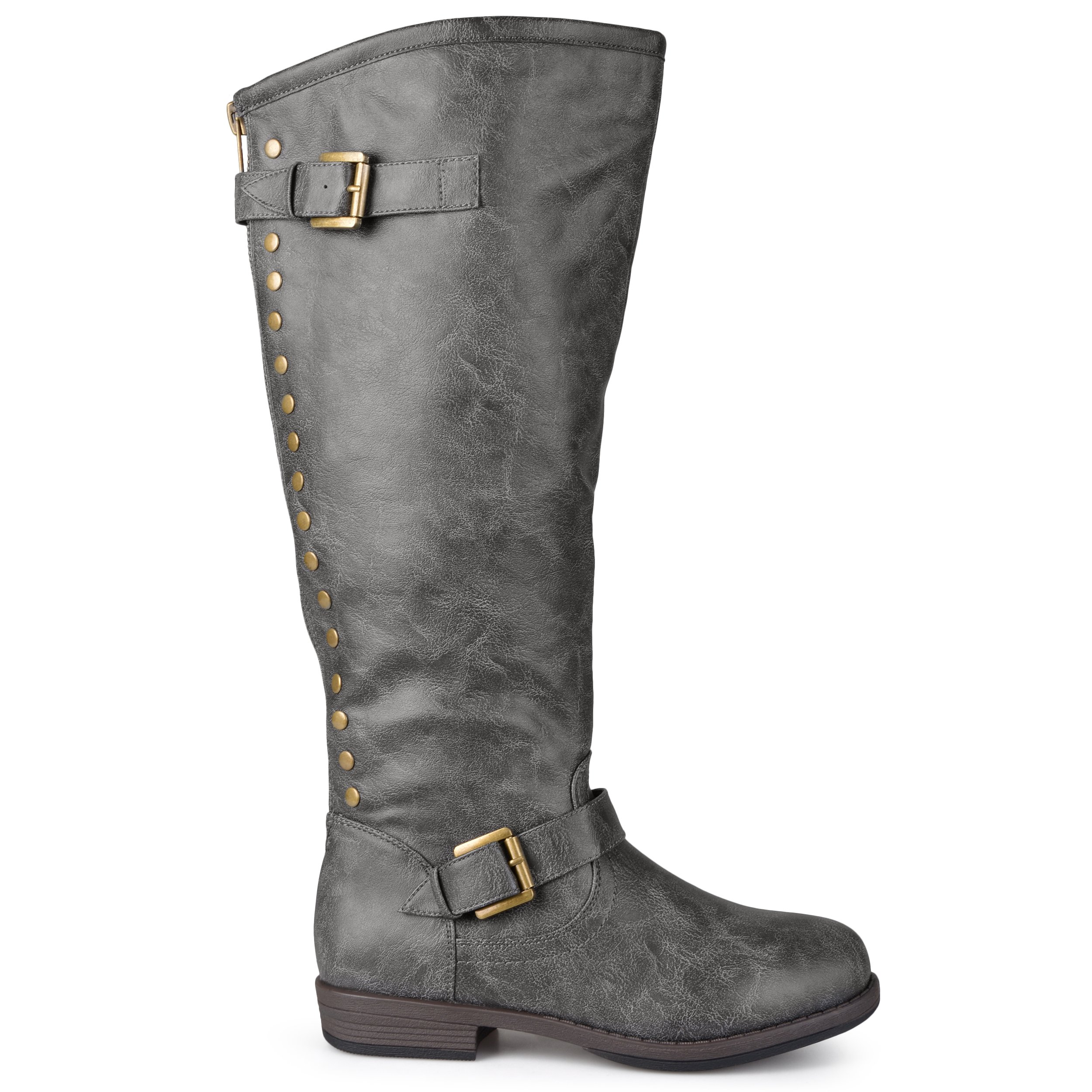 Brinley Co Womens Extra Wide Calf Knee-high Studded Riding Boots Dark Grey, 9 Extra Wide Calf US