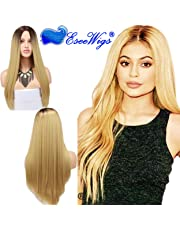 Eseewigs Cheap Two Tone #4 Light Brown Dark Roots Ombre #27 Ash Blonde Glueless Noce Lace Wigs Free Part Long Natural Straight Heat Resistant Synthetic Fiber Replacement Wig for Women