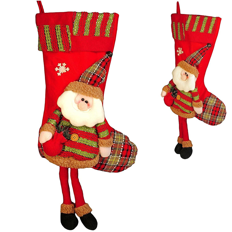 Unbekannt 1 Stück _ XL - Weihnachtssocke & Filzstrumpf -  3-D Effekt - Weihnachtsmann / Nikolaus / Santa Clause  - incl. Name - 57 cm - Nikolausstiefel - Nikolausstru..