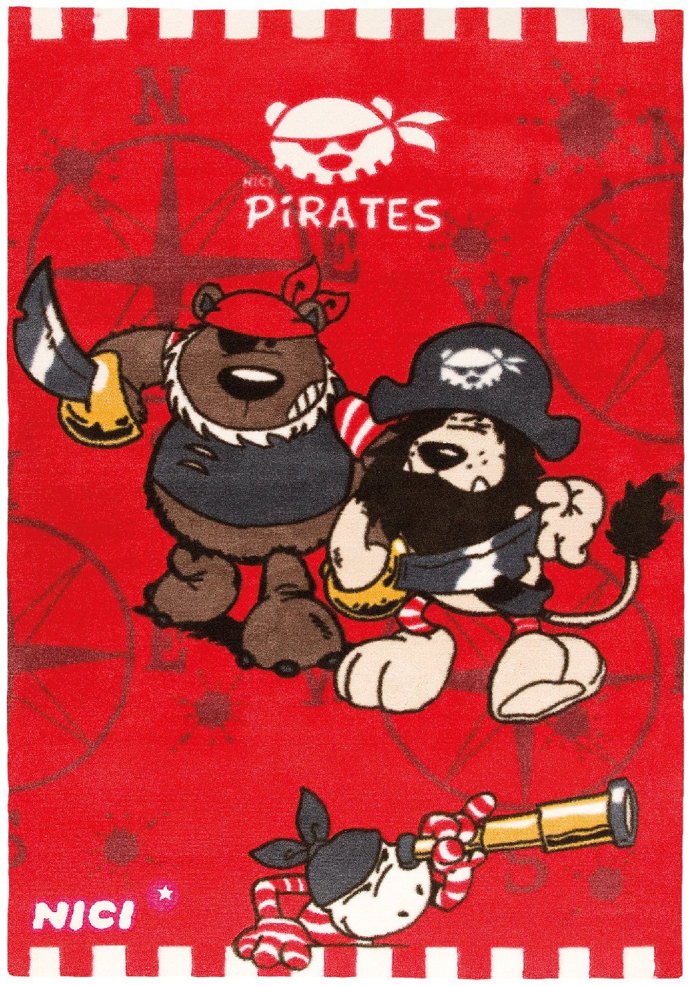 Wissenbach Kinderteppich Nici - Pirates - Piraten - rot
