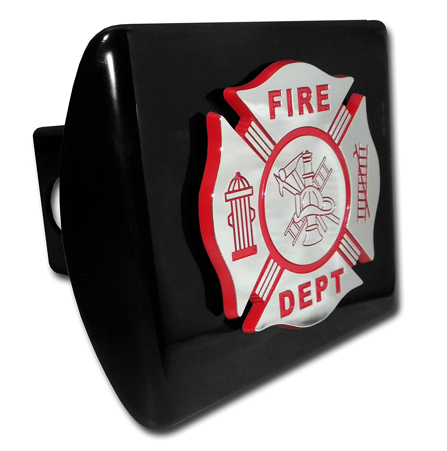Elektroplate Firefighter (Red and Chrome emblem) on Black Metal Hitch Cover FIRE-RED-BLK-HC