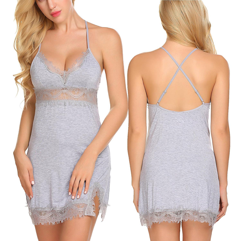 Avidlove Women Modal Slip Split Lingerie Set Soft Nightgown V Neck Sleepwear #ALL006642