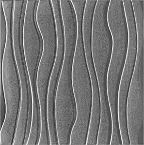 Fabulous Décor: Wave Embossed 3D Thick 8mm Wall Panels Soft Foam Peel and Stick Textured Wallpaper Home Decoration, 4-Pack of 2.3ft X 2.3ft Total 21 SqFt (Silver/Gray)