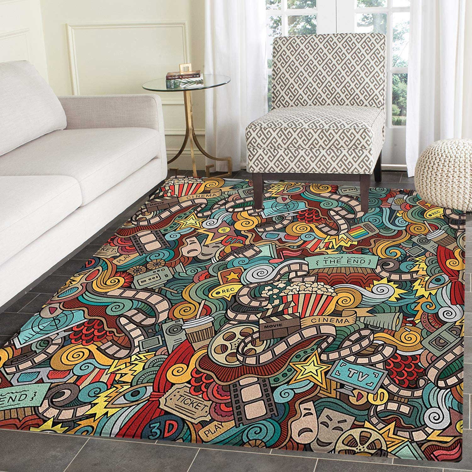 Doodle Rugs for Bedroom Cinema Items Combined in an Abstract Style Popcorn Movie Reel The End Theatre Masks Circle Rugs for Living Room 2'x3' Multicolor