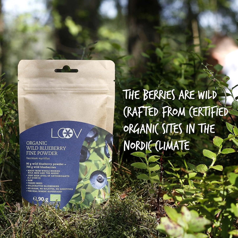 Arándano azul silvestre en polvo: orgánico, cuidadosamente seleccionados a mano procedente de bosques nórdicos, 100% obtenido a partir de fruta entera, ...