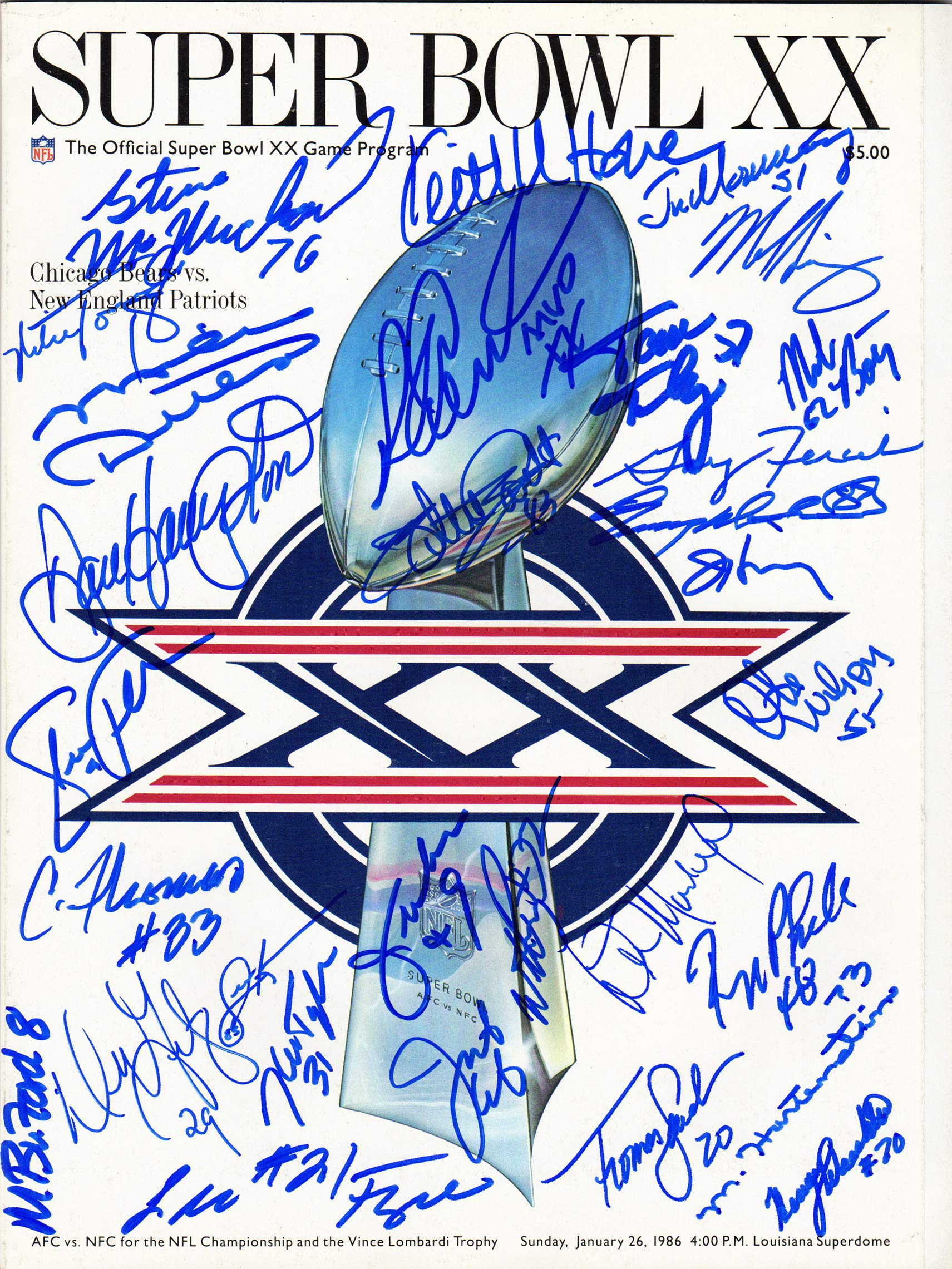 1985 Chicago Bears Team Signed Super Bowl XX Program Schwartz COA