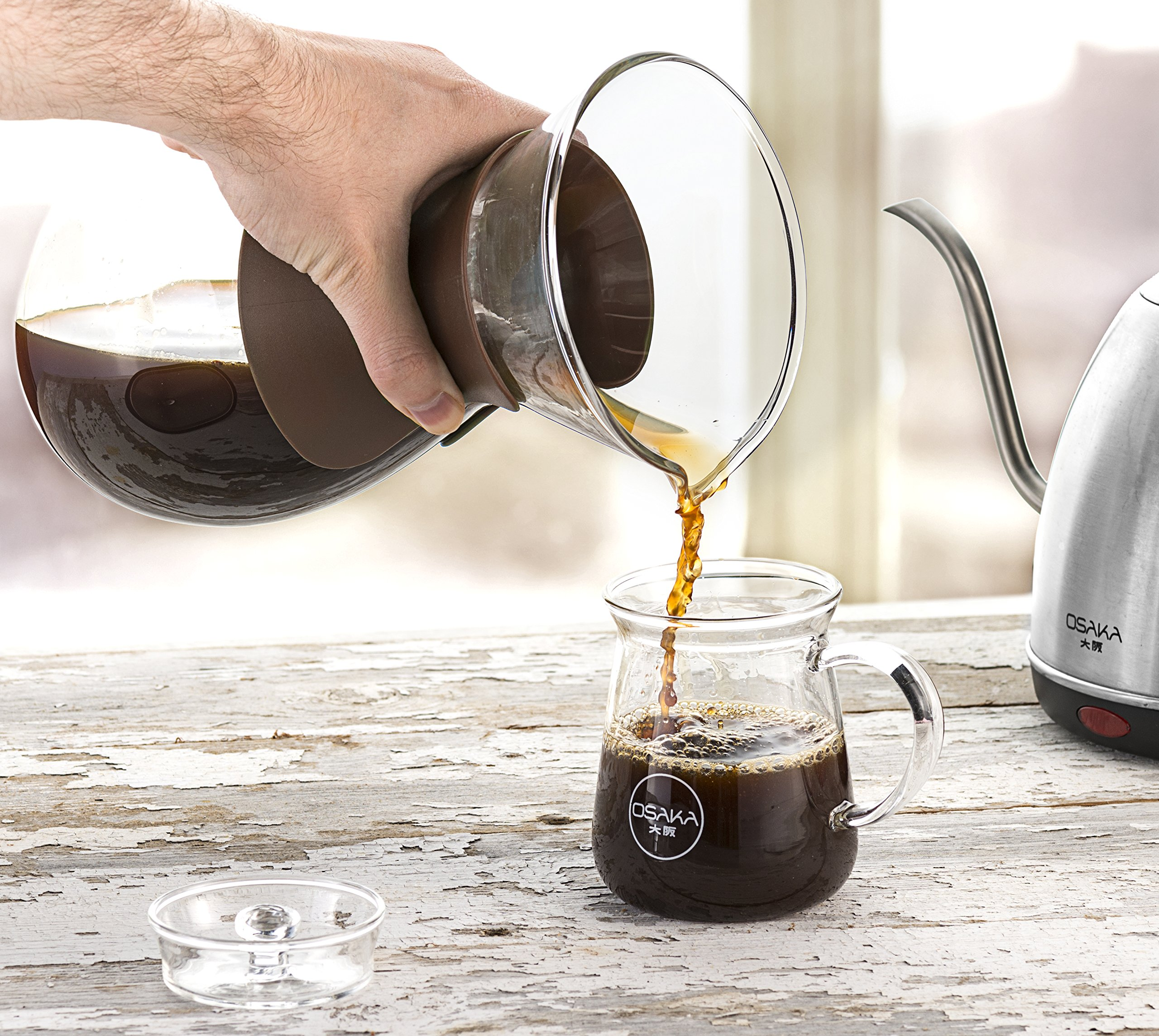 Osaka Pour Over Coffee Maker with Reusable Stainless Steel Drip Filter, 37 oz (7-Cup) Glass Carafe and Lid 'Senso-JI', Brown by Actor (Image #6)