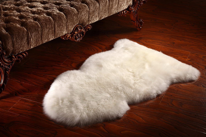 GENUINE SHEEPSKIN NATURAL WHITE RUG 100/% NATURAL