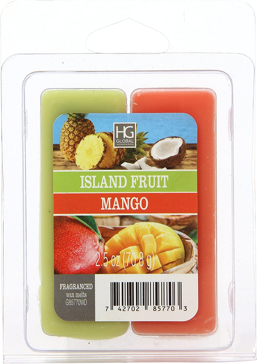 Hosley Dual Pack Island Fruit/Mango Papaya Wax Cubes- 2.5 oz. Hand Poured Wax Infused with Essential Oils. Ideal for Weddings, Spa, Reiki, Meditation Settings W1