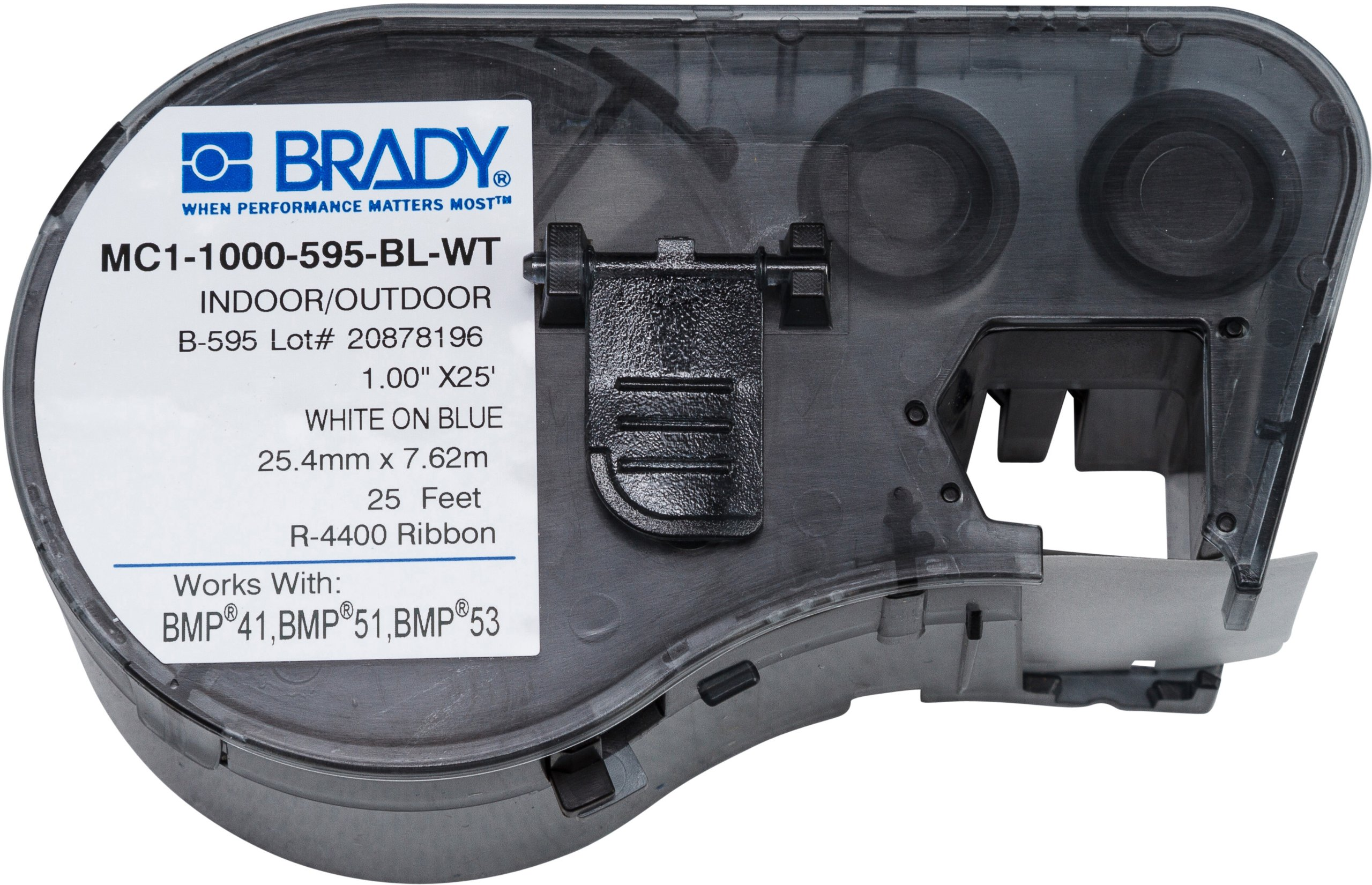 Brady MC1-1000-595-BL-WT Labels for BMP53/BMP51 Printers