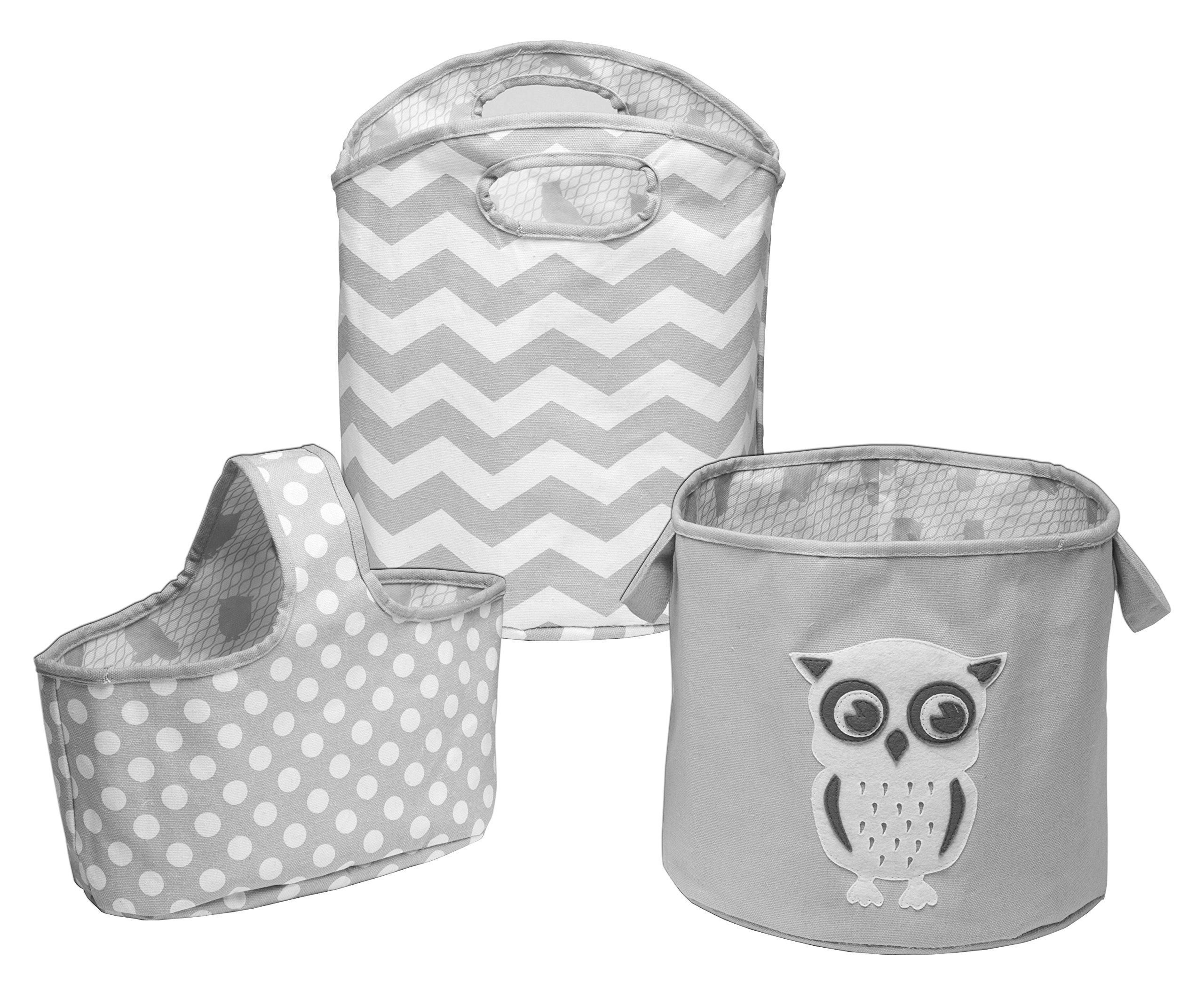 Delta Children 3 Piece Canvas Nursery Storage Set, Grey Owl