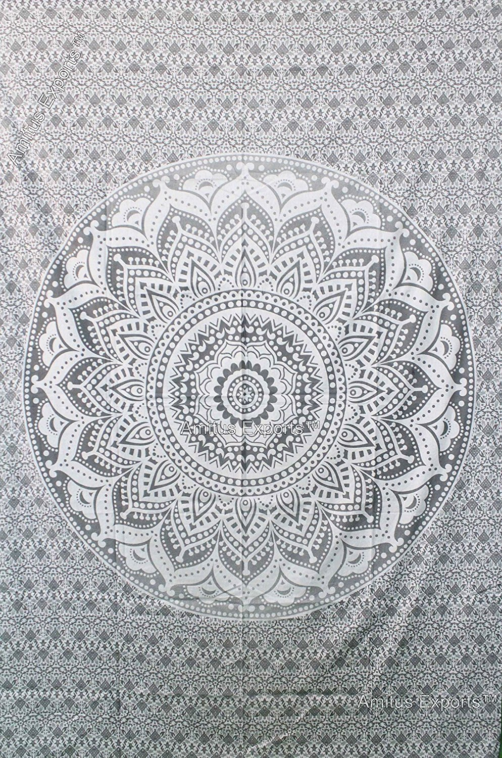 Grey Tapestry Gray Ombre Tapestry Wall Hanging Hippie Mandala Tapestry College Dorm Tapestry Mandala Tapestry Dorm Decor Indian Hippie Tapestry Bohemian Bedspread Bedding Decor by RSG Venture