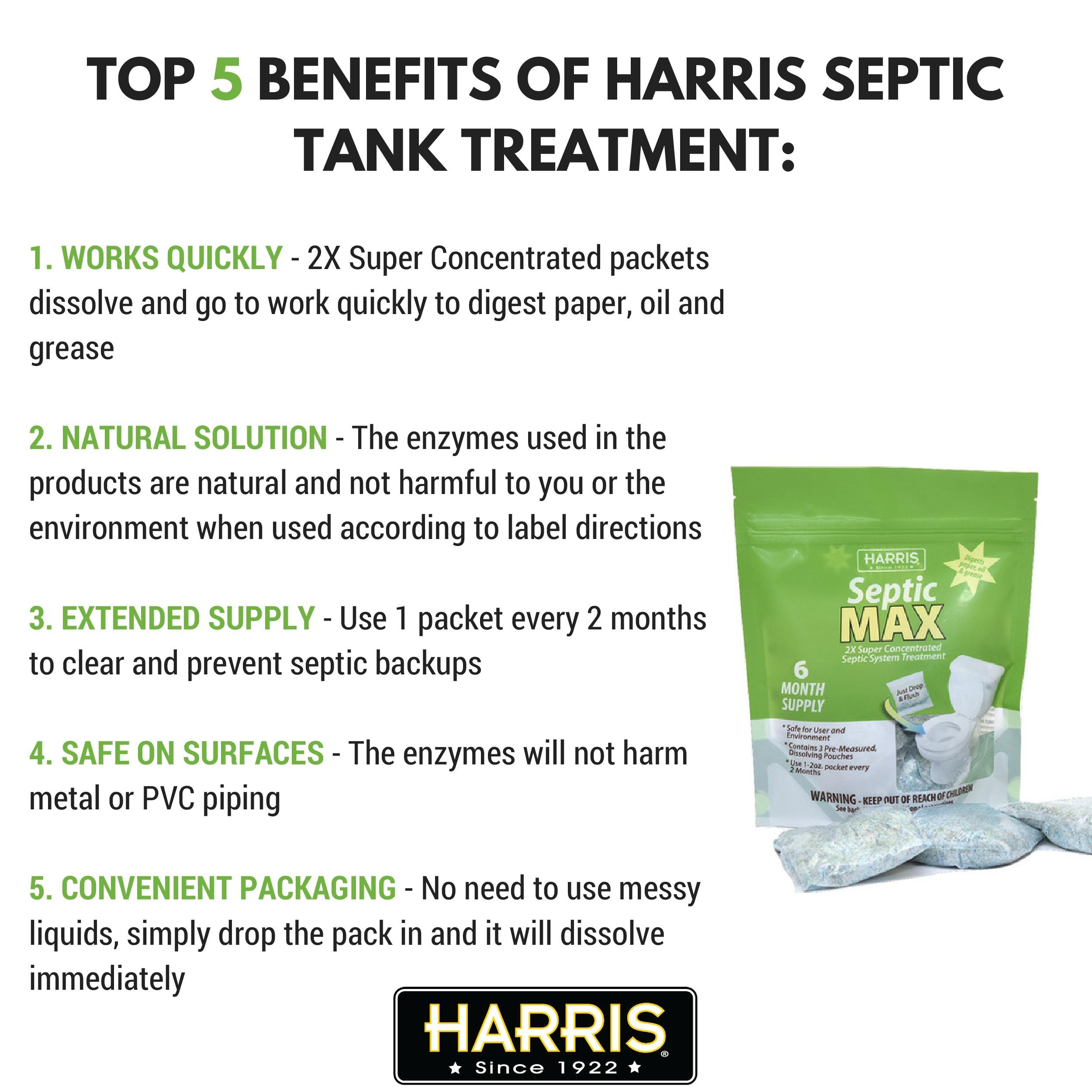 Harris Natural Enzyme Septic Tank Treatment, 6-Month Powder Packet Supply