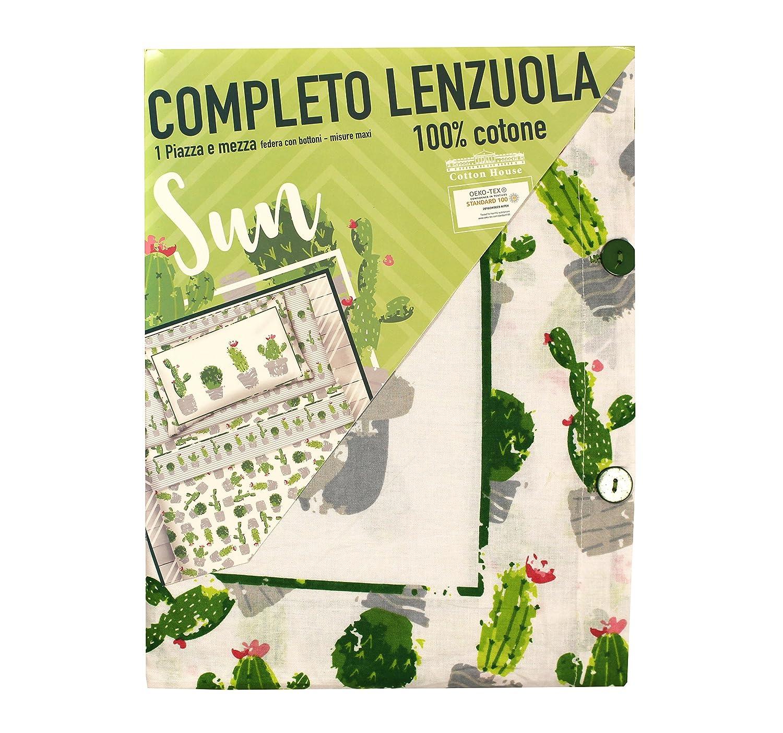 Completo lenzuola 100/% cotone disegno Sun cactus Beige, 1 Piazza