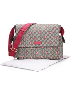 9f0021a6421 Gucci Rosebud Print GG Canvas Diaper Bag Beige Multicolor Girl Baby Italy  New