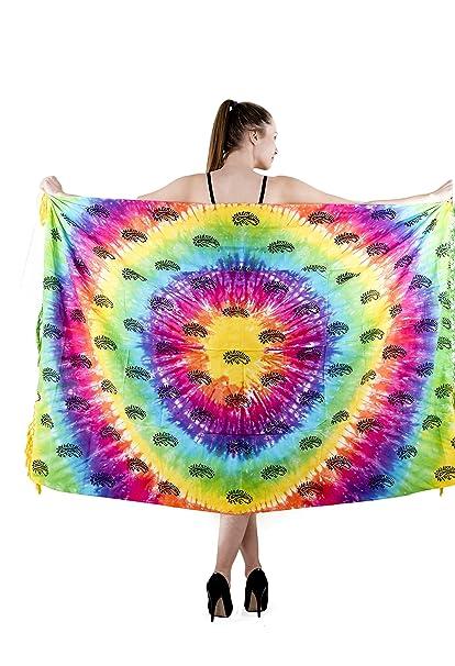 459eab383f Amazon.com: The Indian Craft Multicolor Cotton Fouta Towel - Tie Dye  Colorful Peshtemal Womens Beach Wear Swimsuit Wrap Around Pareo Sarong:  Home & Kitchen