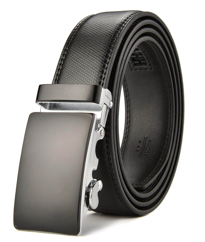 HW Zone Men's Leather Automatic Buckle Belts Fashion Waist Strap