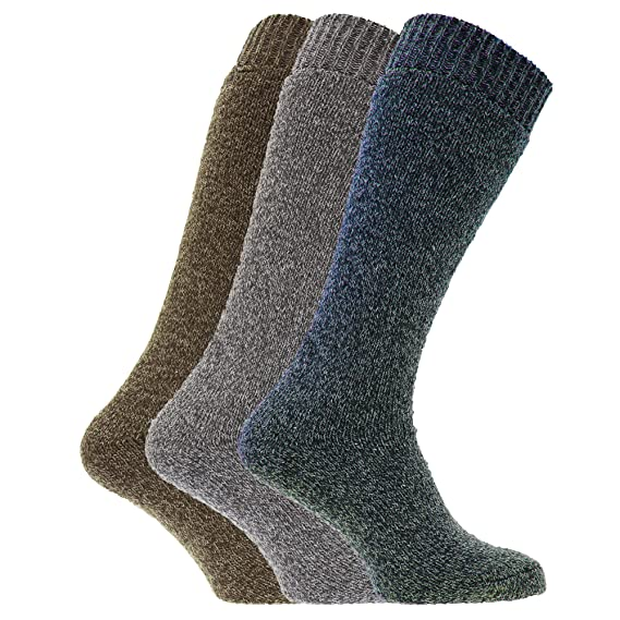 Universal Textiles Calcetines térmicos para botas de agua o campo con mezcla de lana para hombre/caballero - Pack de 3 pares de calcetines (39-45 ...