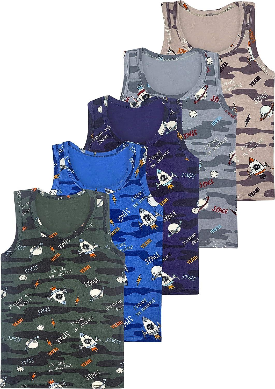 Basics 2-15 Years LOREZA /® 5 Boys Kids Undershirts Cotton Tank top Vest
