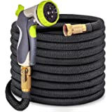"""50ft Garden Hose- 2018 New Bronze Connector Expandable Water Hose with Double Latex Core, 3/4"""" Solid Brass Fittings, 8 Setting Aluminum Spray Nozzle"""