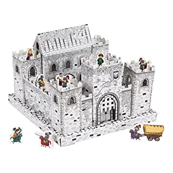 Amazon.com: Fat Catalog DIY Mini Castle Kit- Cardboard Coloring Kit ...