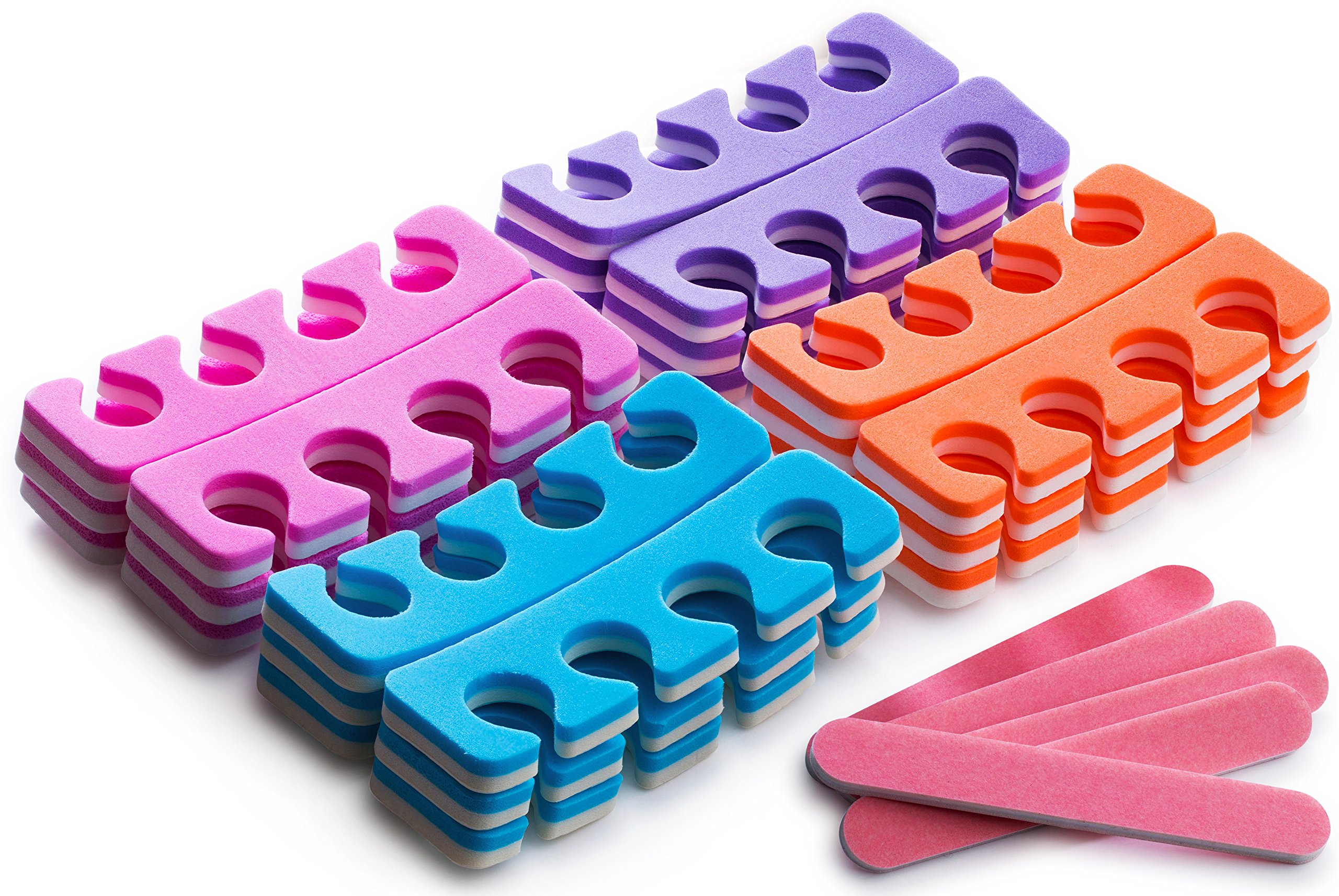 Pack of 36 Pairs - Soft Two Tone Foam Toe Separators, Toe Spacers, Great Toe Cushions for Nail Polish, Pedicure, Manicure, and Other Uses, Includes 8 Pink Mini Nail Buffering Files by GlossyEnd