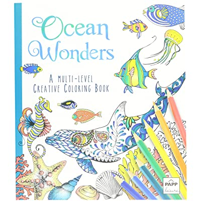 Ocean Wonders A Multi Level Adult Creative Coloring Book with Lay Flat Binding: Toys & Games [5Bkhe0403786]