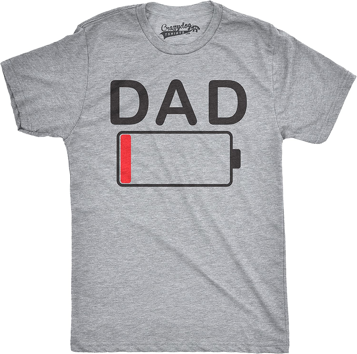 Crazy Dog Tshirts - Mens Dad Battery Low Funny Sarcastic Graphic Tired Parenting Fathers Day T Shirt - Camiseta Divertidas: Amazon.es: Ropa y accesorios