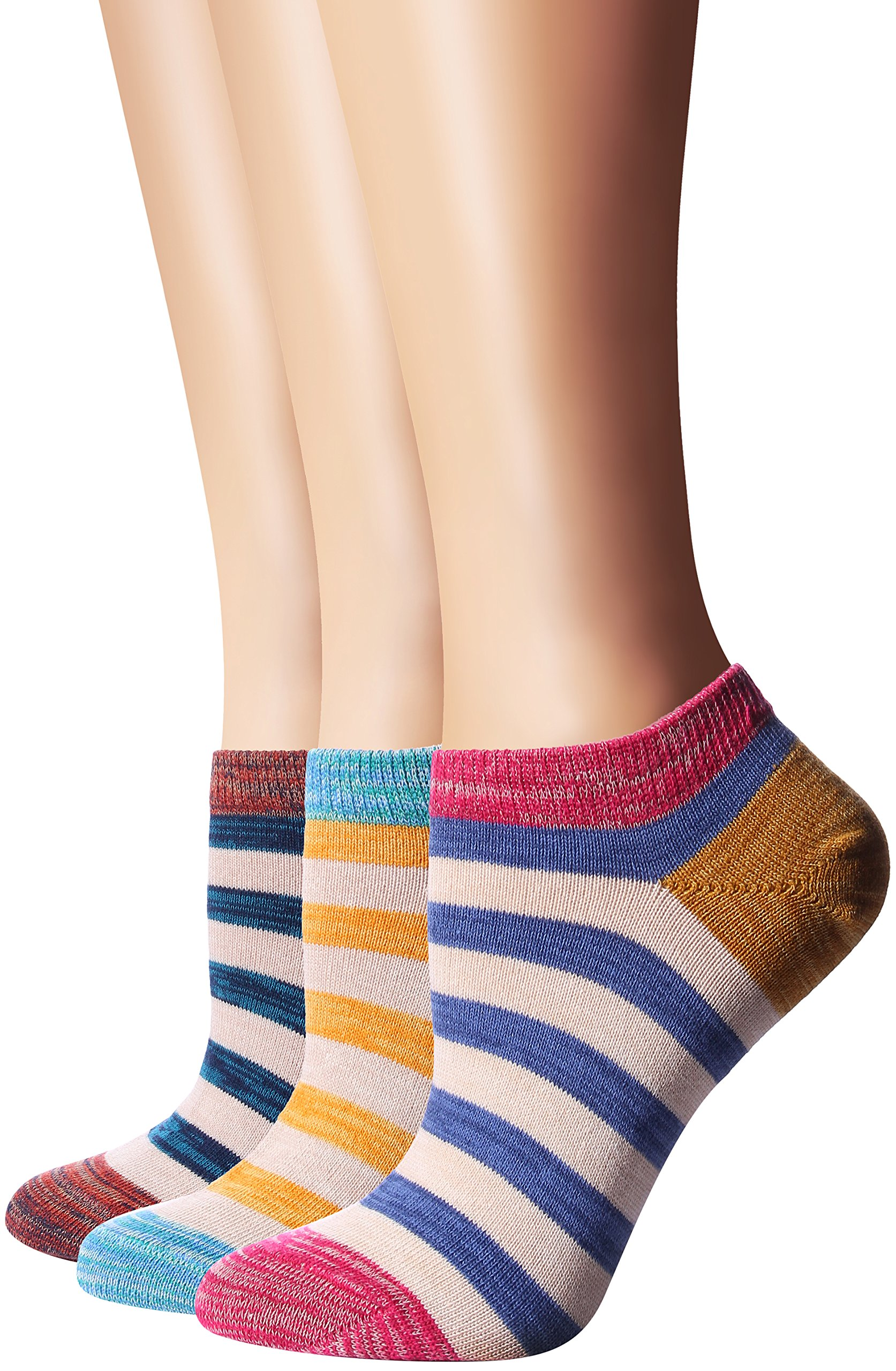 Flora&Fred Women's 3 Pair Pack Vintage Style Colorful Stripe Cotton No Show Socks