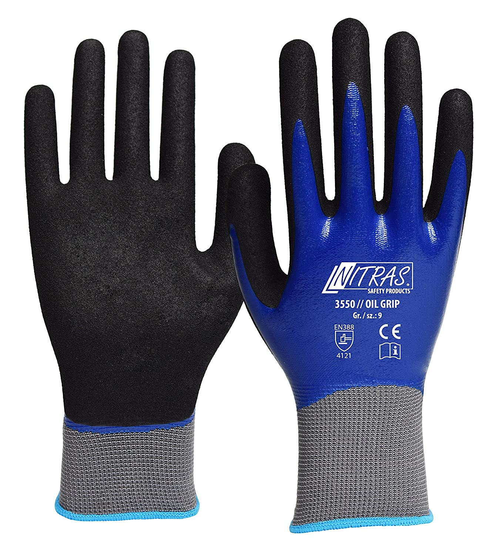 72 Paar NITRAS OIL GRIP Nylon-Handschuhe, doppelt Nitrilbeschichtung 7 Grösse 7