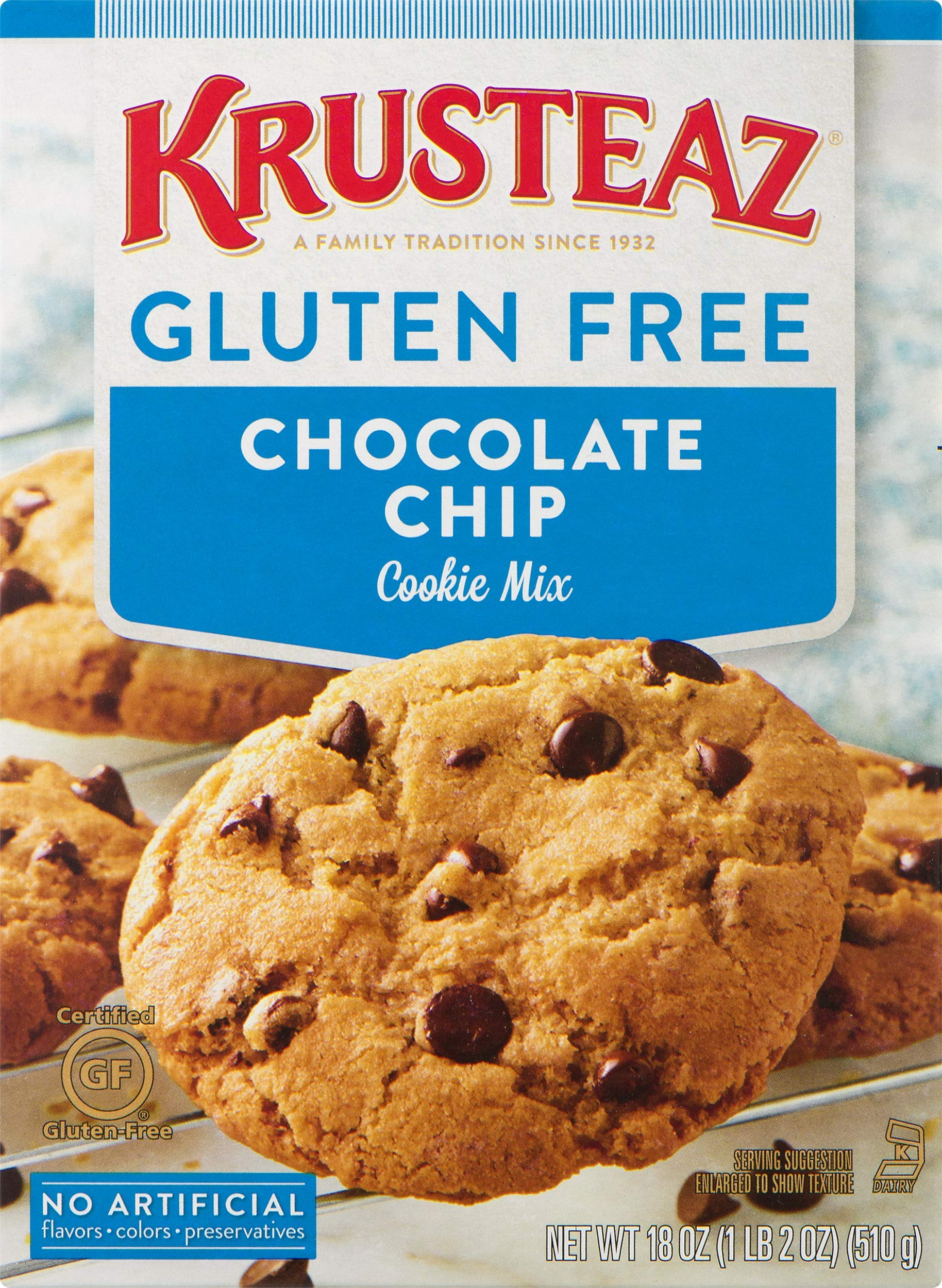 Krusteaz Gluten Free Chocolate Chip Cookie Mix, 18 Ounce, Pack of 8 by Krusteaz