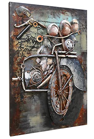 Metal Motorcycle Wall Art.Asmork 3d Metal Art 100 Handmade Metal Unique Wall Art Stereograph Oil Painting Home Decor Ready To Hang Sculpture Artwork Motorcycle 20 X