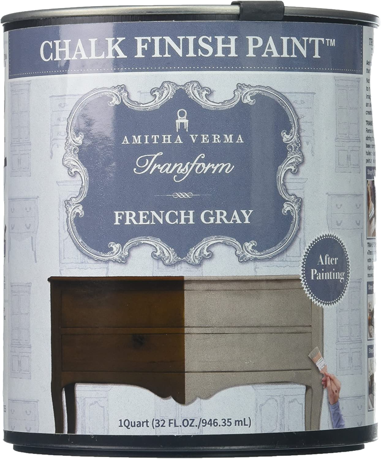 Amitha Verma Chalk Finish Paint, No Prep, One Coat, Fast Drying   DIY Makeover for Cabinets, Furniture & More, 1 Quart, (French Gray)