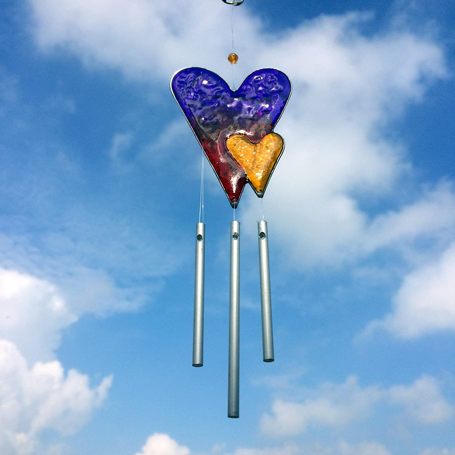 Colourful Love Heart Wind Chime Mobile Sun Catcher Fairly Traded From Bali Present Company