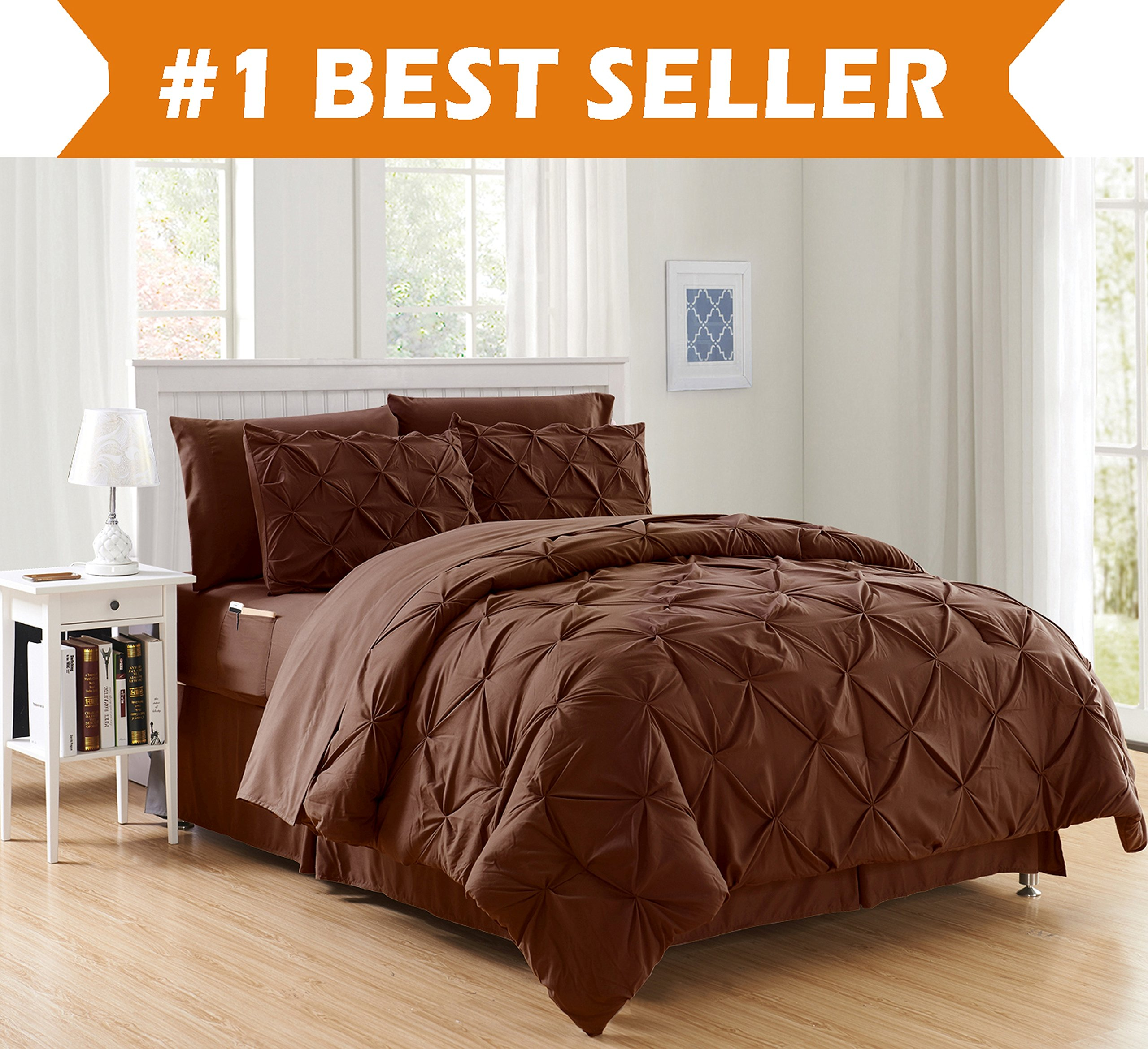 Luxury Best, Softest, Coziest 8-PIECE Bed-in-a-Bag Comforter Set on Amazon! Elegant Comfort - Silky Soft Complete Set Includes Bed Sheet Set with Double Sided Storage Pockets, King/Cal King, Chocolate