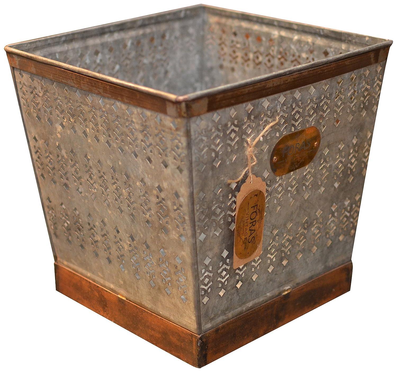 Foras Premium Zinc, Vintage Style Log Basket/Window Box/Magazine Tidy, Available in 3 sizes