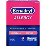 Benadryl Ultratabs Go Packs, Antihistamine Tablets with Diphenhydramine HCl, 60 packets of 2 tablets, 2 boxes
