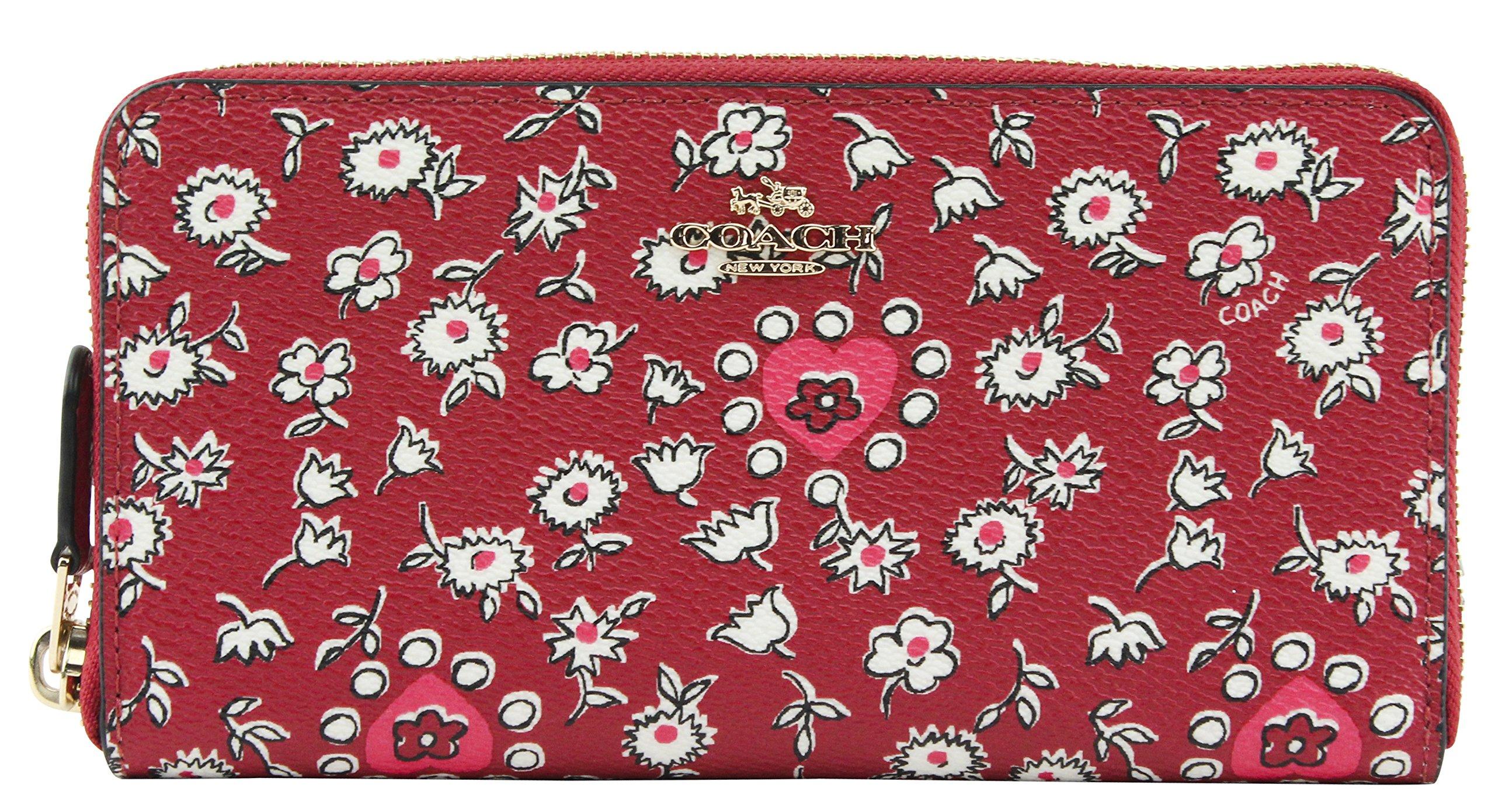 Coach Women's Wild Heart Print Accordion Zip Around Wallet, Style F57832, Red Multi