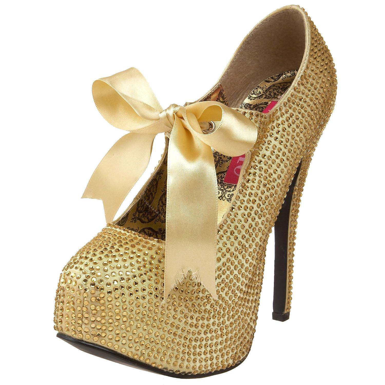 Bordello TEEZE-04R - Zapatos de Tacón para Mujer 38 EU,Gold Rhinestones
