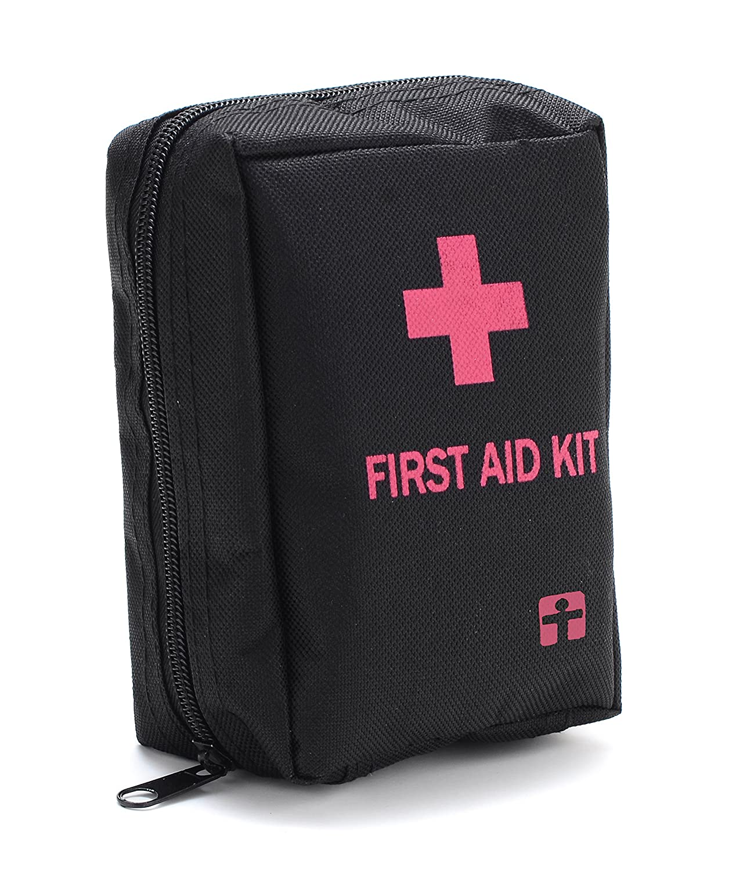 YUUVE 55 Piece First Aid Kit Bag - Compact Emergency Medical Bag Includes Foil Emergency Blanket, Medical Scissors, Metal Tweezer for Home, School, Office, Car, Caravan, Workplace, Travel