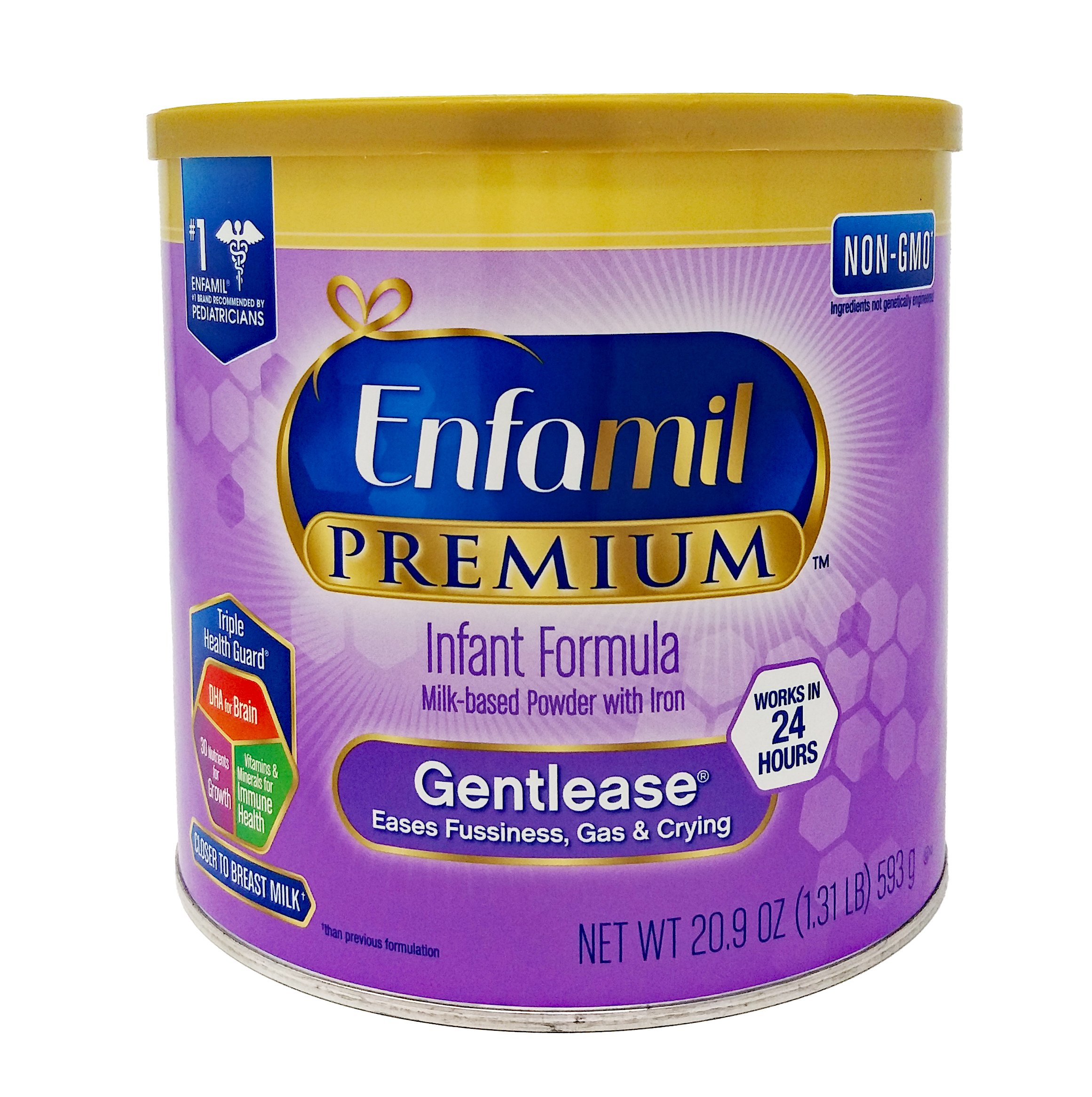 Enfamil PREMIUM Non-GMO Gentlease Infant Formula, Powder, 20.9 Ounce. Plus Free Bonus 1 Pack of Disposable Baby Bibs and 1 Baby Washcloth.