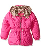 Pink Platinum Girls' Quilted Puffer Jacket with Cheetah Lining