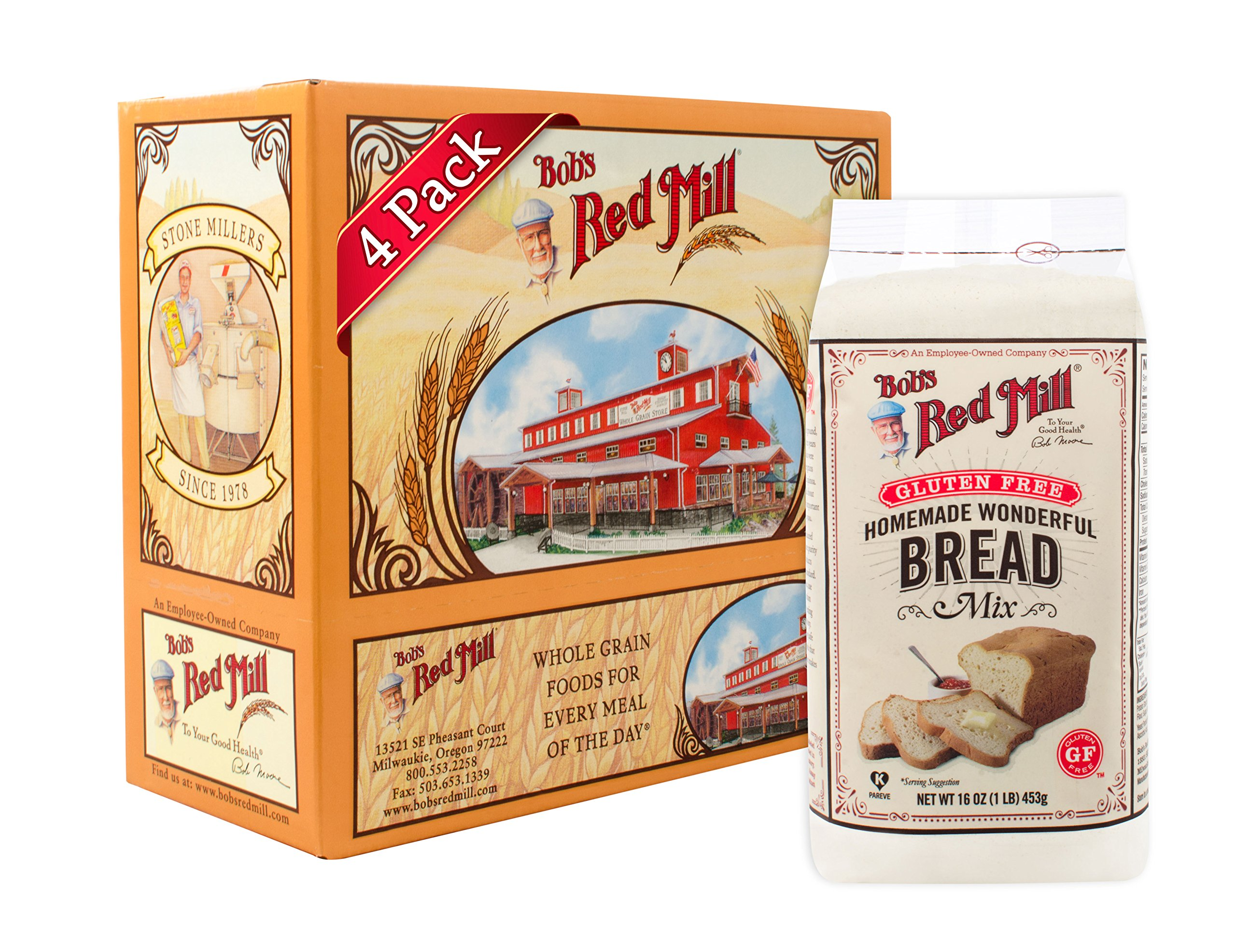 Bob's Red Mill Gluten Free Homemade Wonderful Bread Mix, 16-ounce (Pack of 4) by Bob's Red Mill
