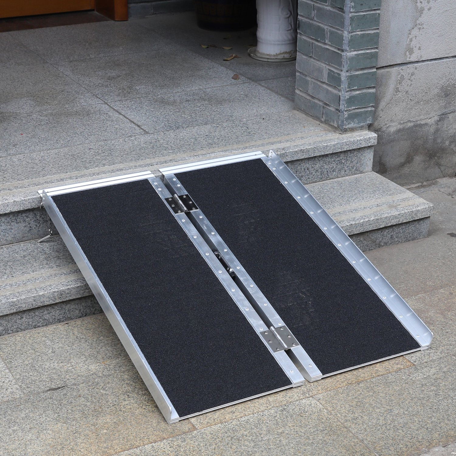 Portable Aluminum Wheelchair Ramp Foldable Separated Mobility Scooter Traction Ramp with Carrying Handle 3 Feet by Hromee (Image #6)