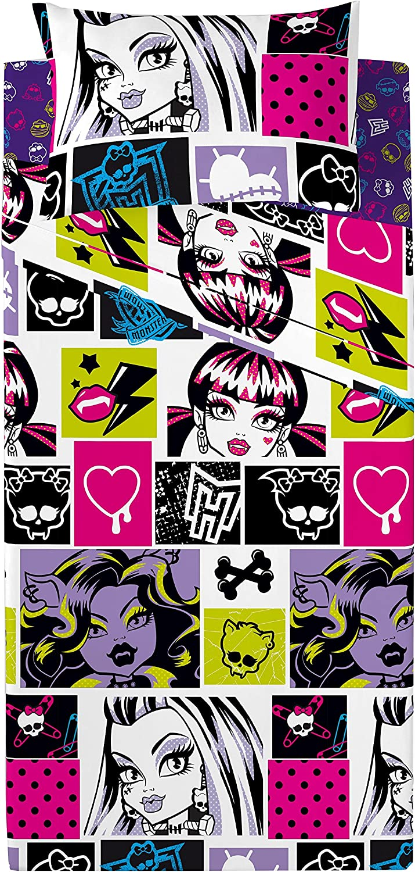 Euromoda - Juego de sábanas de 3 piezas Monster High, chispas