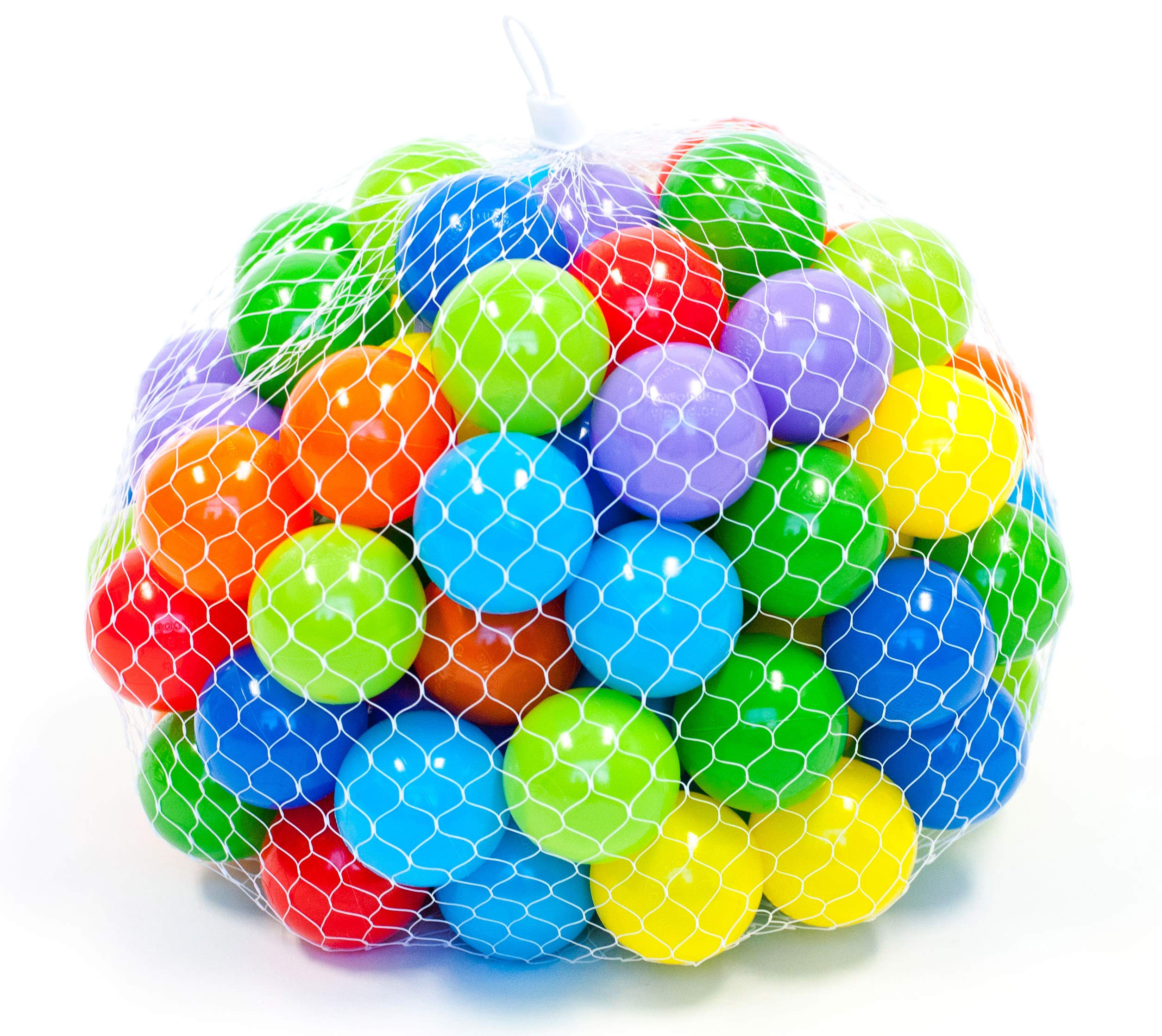 EWONDERWORLD 100 Count 2.4'' Non-Toxic BPA & Phthalate Free Crush Proof Plastic Ball Pit Play Balls with 8 Vibrant Colors and Durable Net Bag by Wonder Playball