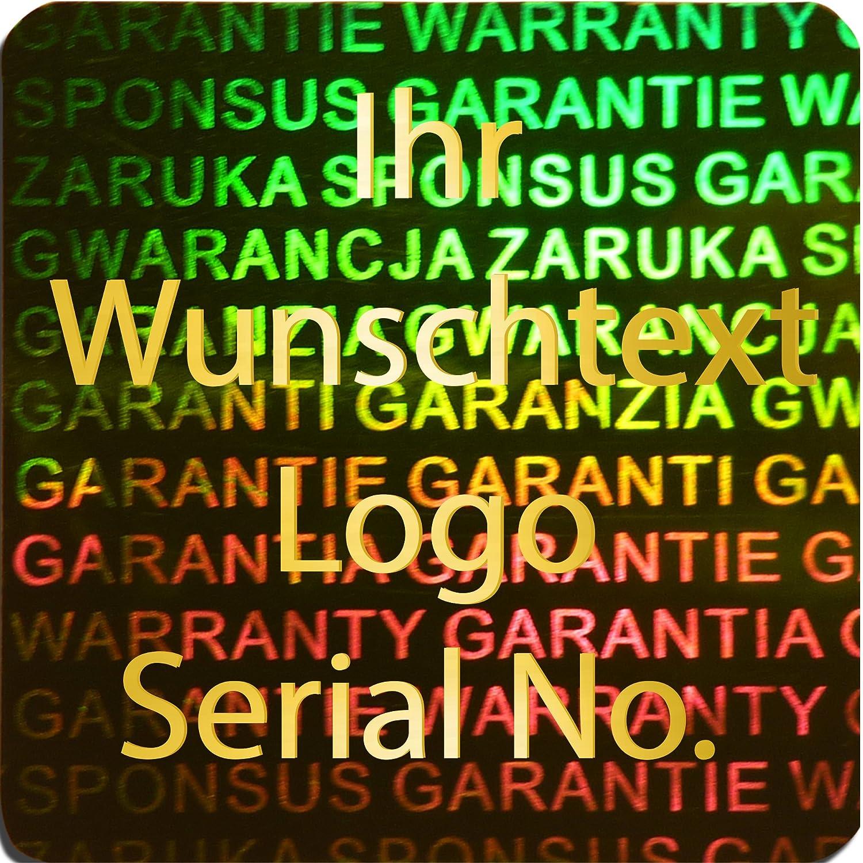 EtikettenWorld BV, EW-H-3100-67-tgo-700, 700 Stück Hologrammaufkleber, 2D, 20x20mm grünfarbige Metallfolie, bedruckt in Gold-glänzend mit Ihrem Wunschtext Logo, Hologramm Etiketten, selbstklebend, Hologramm Aufkleber, Sicherheitssiegel, Gar