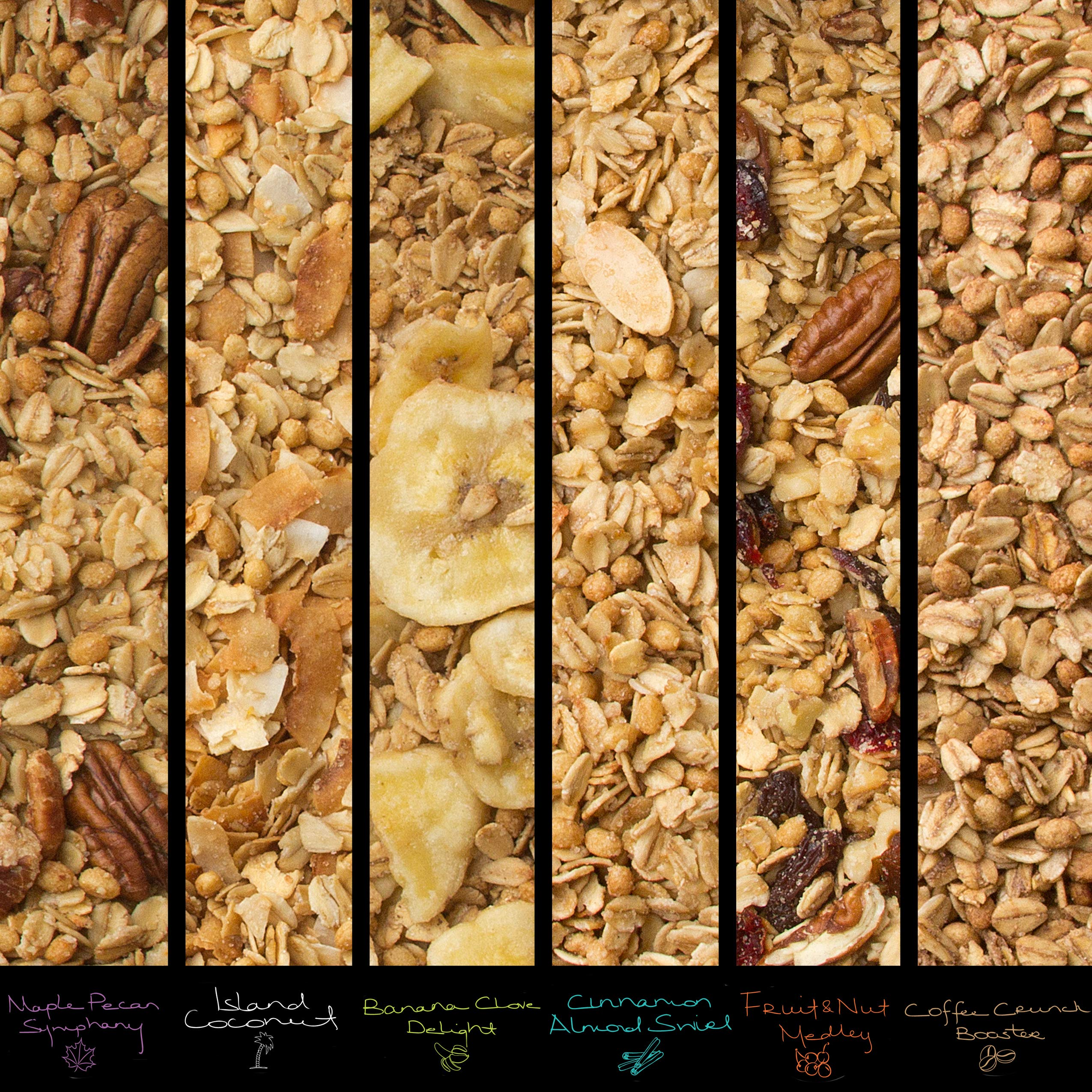Oh! Nuts Gourmet Granola 6 Variety Gift Basket, Toasted Oats + Enhanced Protein Cereals, Christmas Breakfast Cereal Set, Holiday Valentines Day Energy Snack Gifts for Men & Women by oh! Nuts (Image #5)