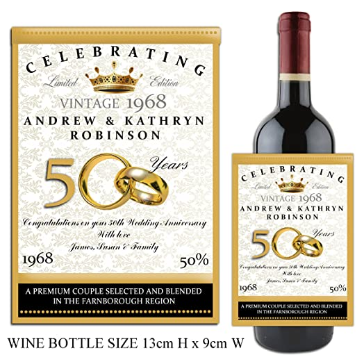 Personalised WINE CHAMPAGNE BOTTLE LABEL Golden 50th Wedding Anniversary Gift Idea N14