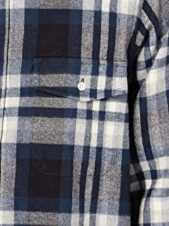 Cotton Flannel Club Collar Shirt 111-18-0076: Navy